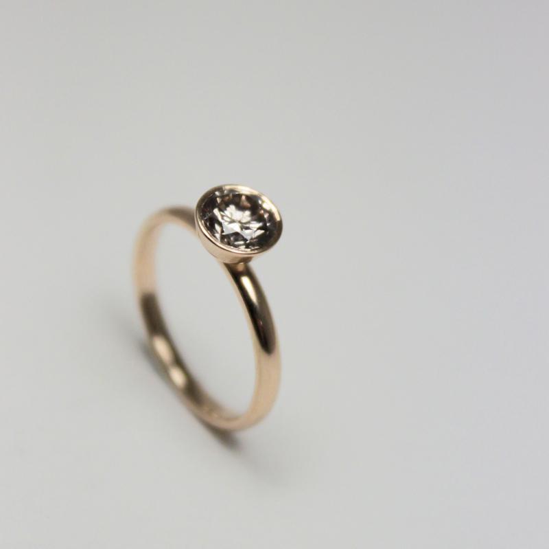 Ett annat sätt att tillverka en fattning är att göra en grop eller skål som stenen sätt fast i. Ring av guld med kaffediamant av Klara Eriksson.