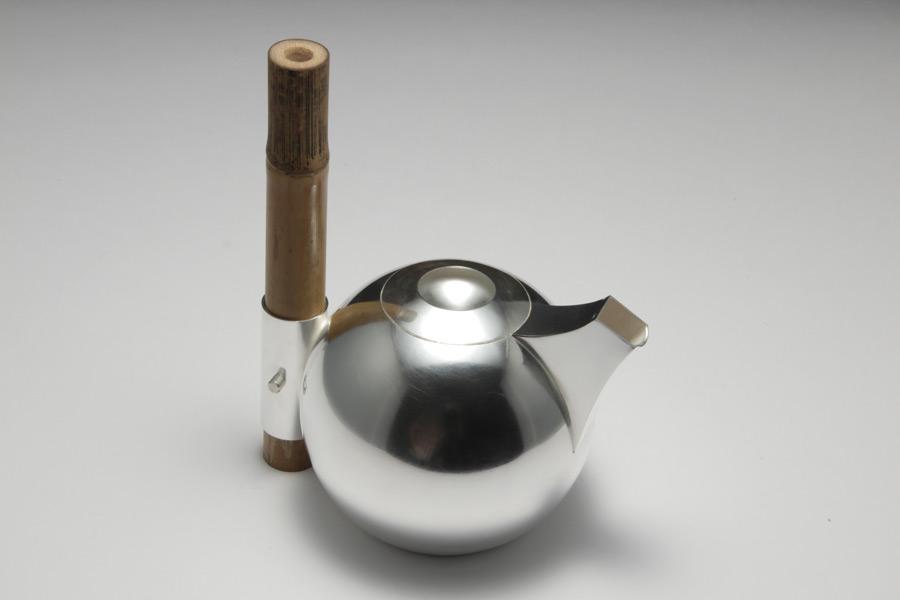 kanna silver te tea pot bambu