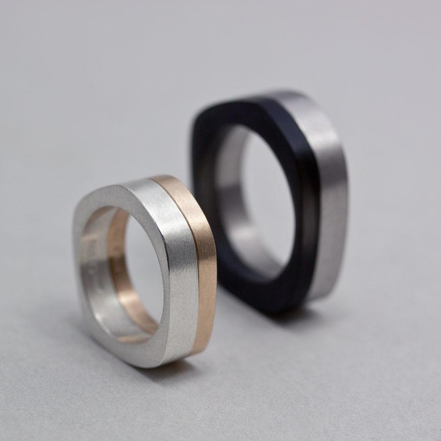 Asymmetriska skivringar av Petronella eriksson.  Silver, svenskt rödguld, akryl och titan.