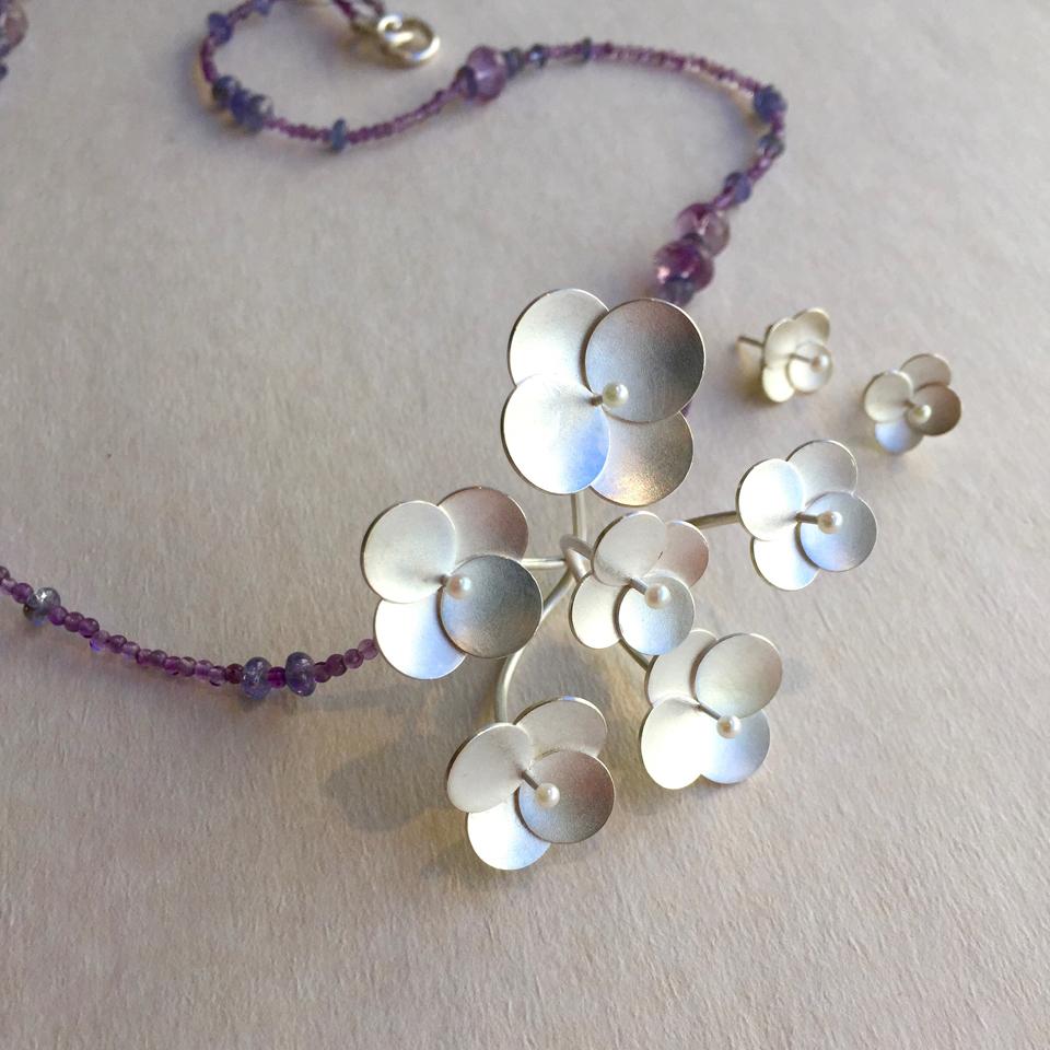 Hortensia, silver med ametist